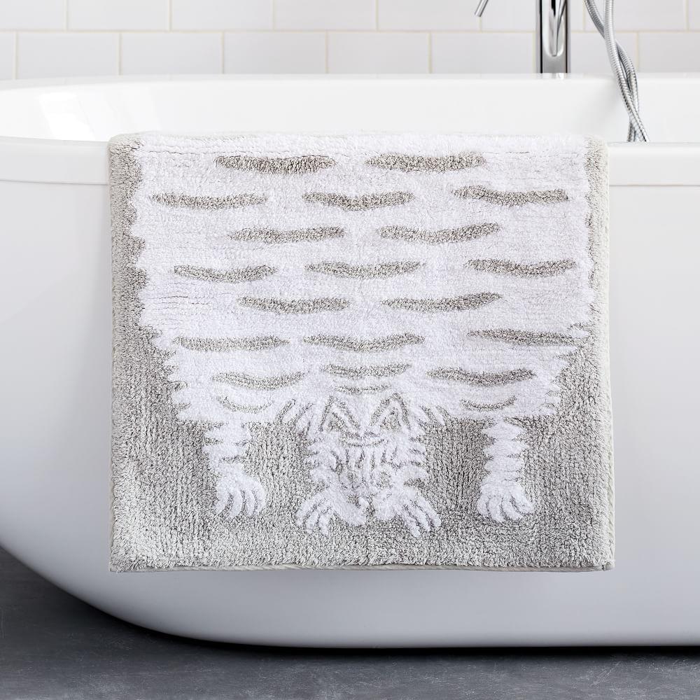 Organic Tufted Tiger Bath Mat - Grey Sky