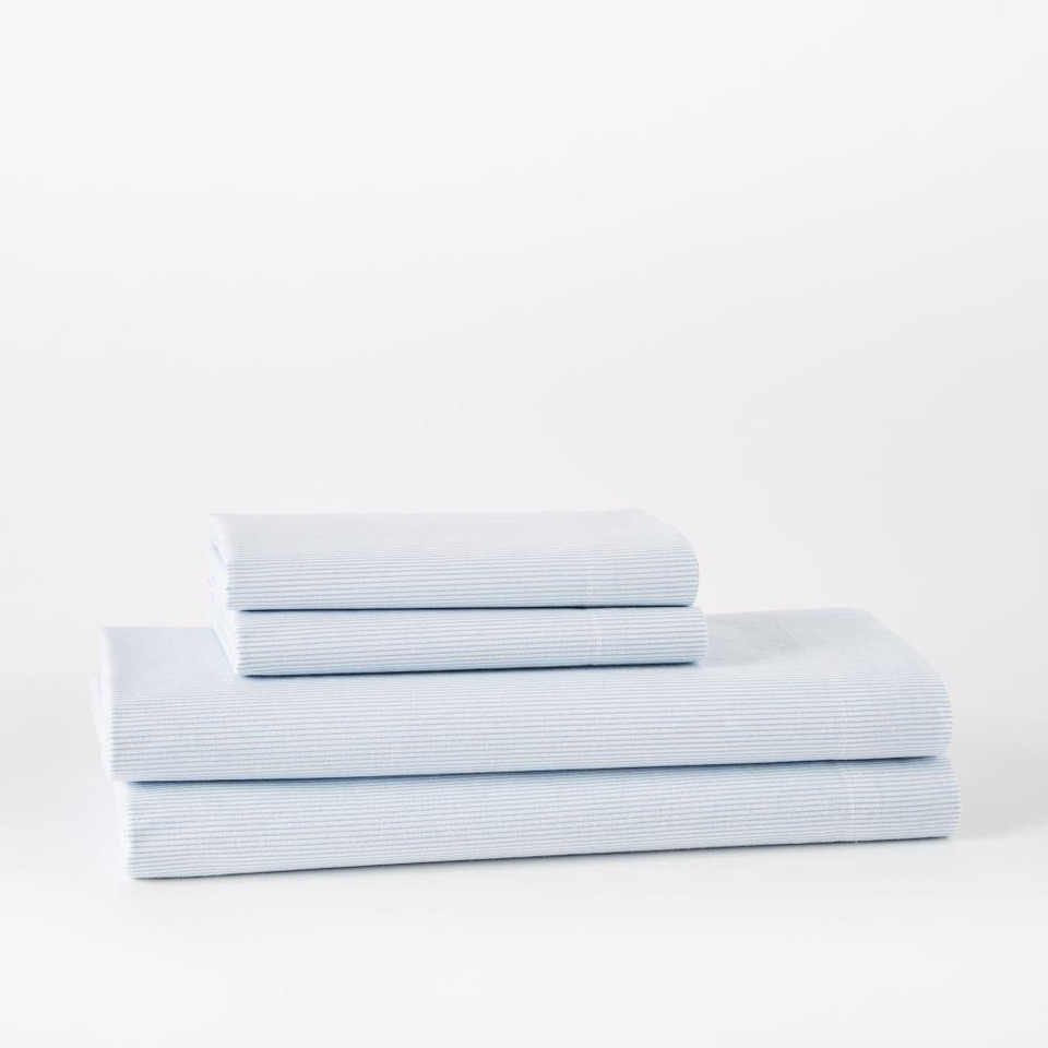 Organic Washed Cotton Stripe Sheets - Kyoto Blue