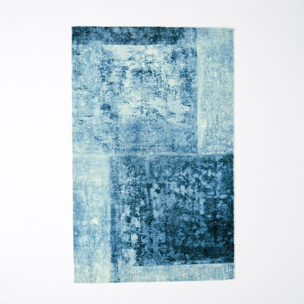 Distressed Rococo Wool Rug Blue Lagoon West Elm Uk