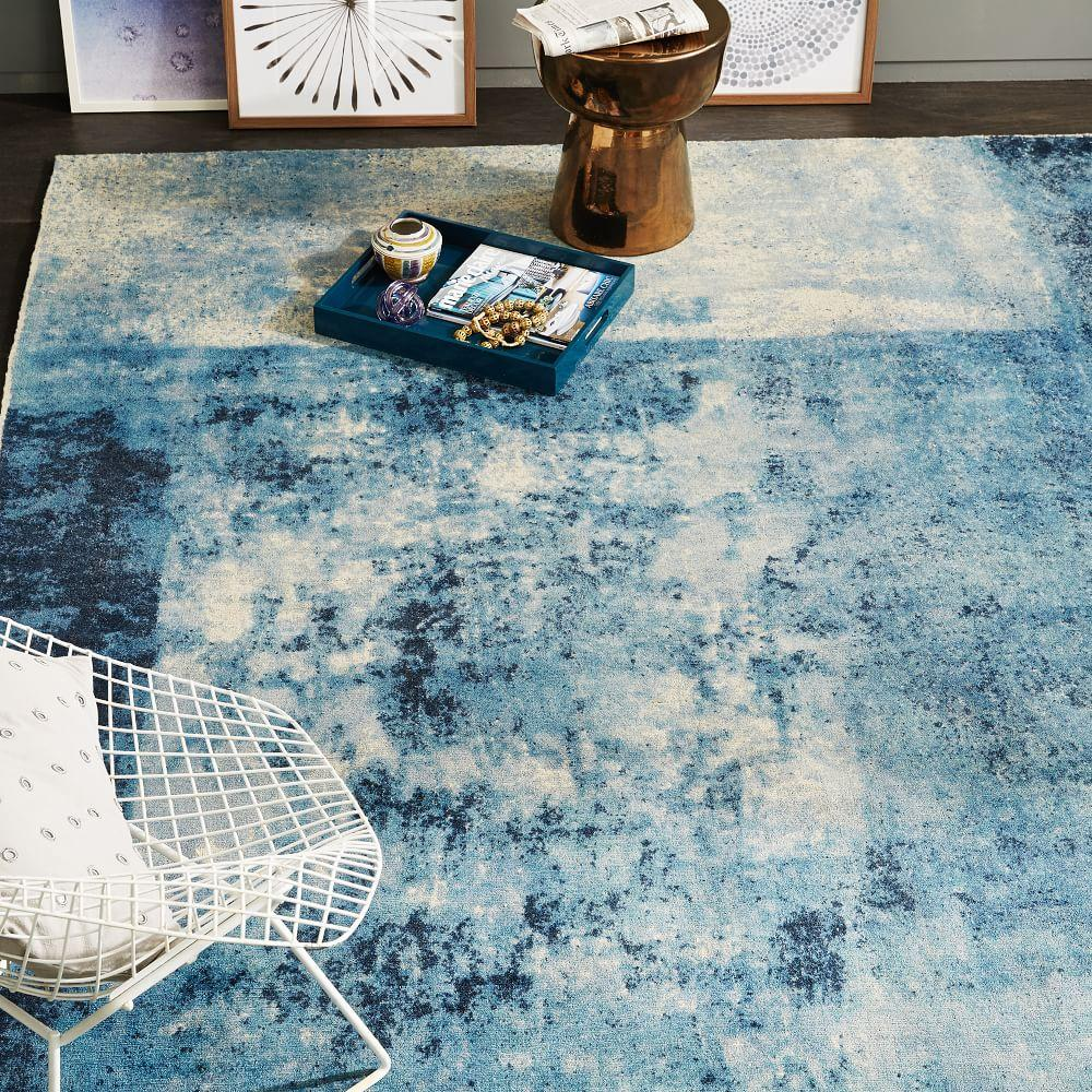 distressed rococo wool rug blue lagoon west elm uk. Black Bedroom Furniture Sets. Home Design Ideas