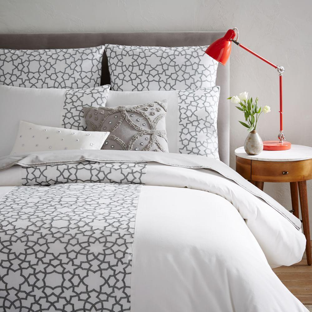 Embroidered Star Duvet Cover Pillowcases