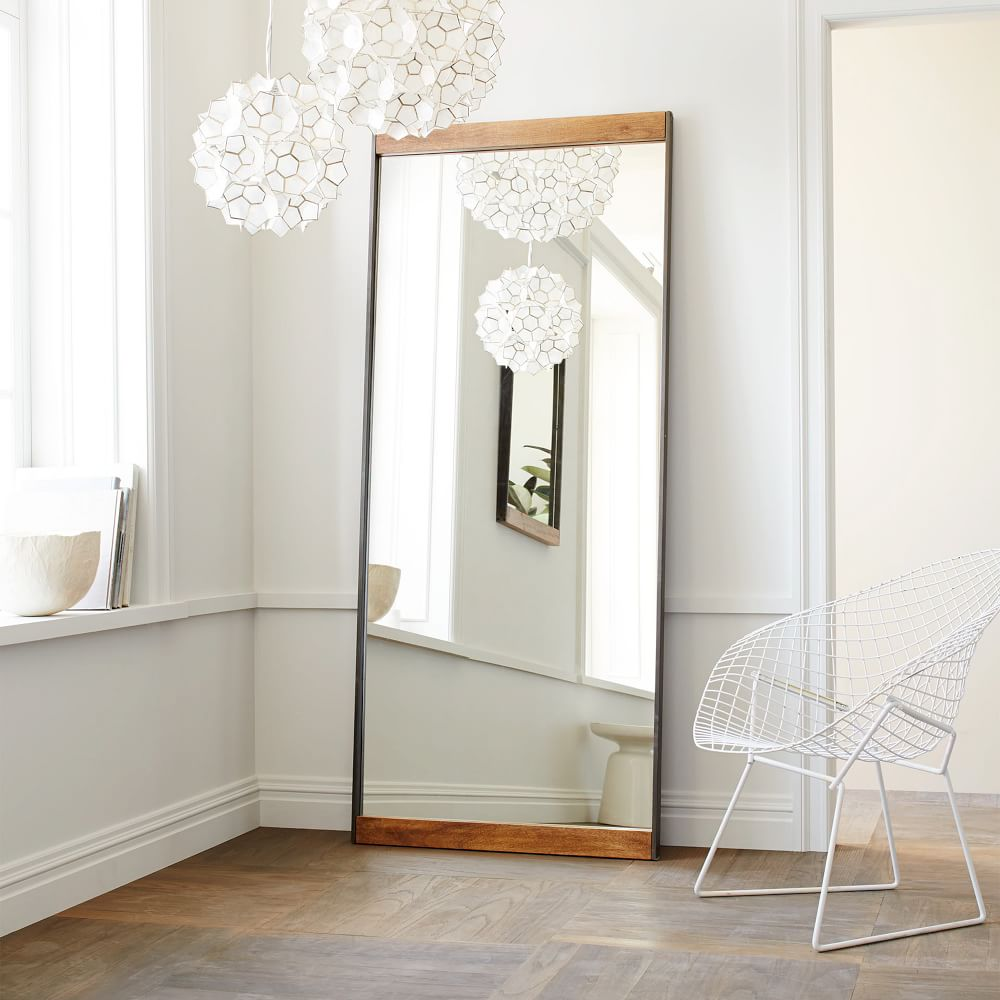Metal wood floor mirror west elm uk for Large bedroom mirror