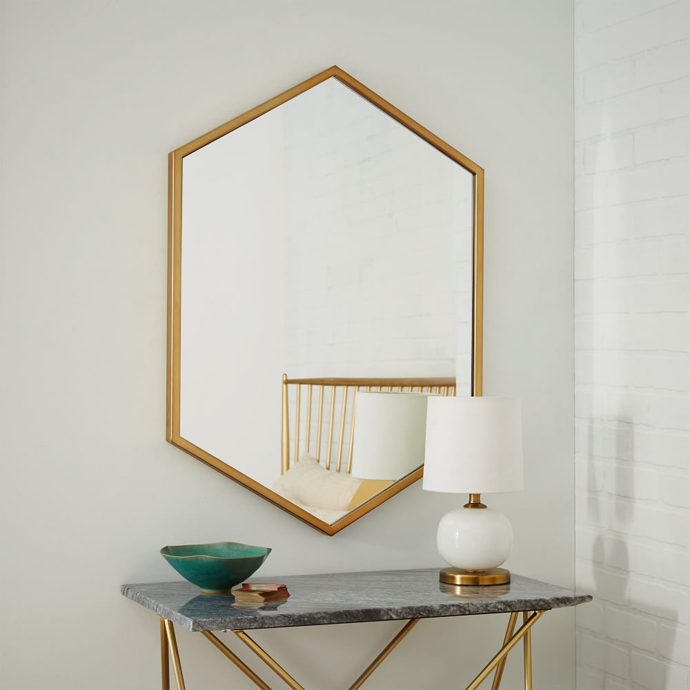Metal Hexagon Framed Mirror