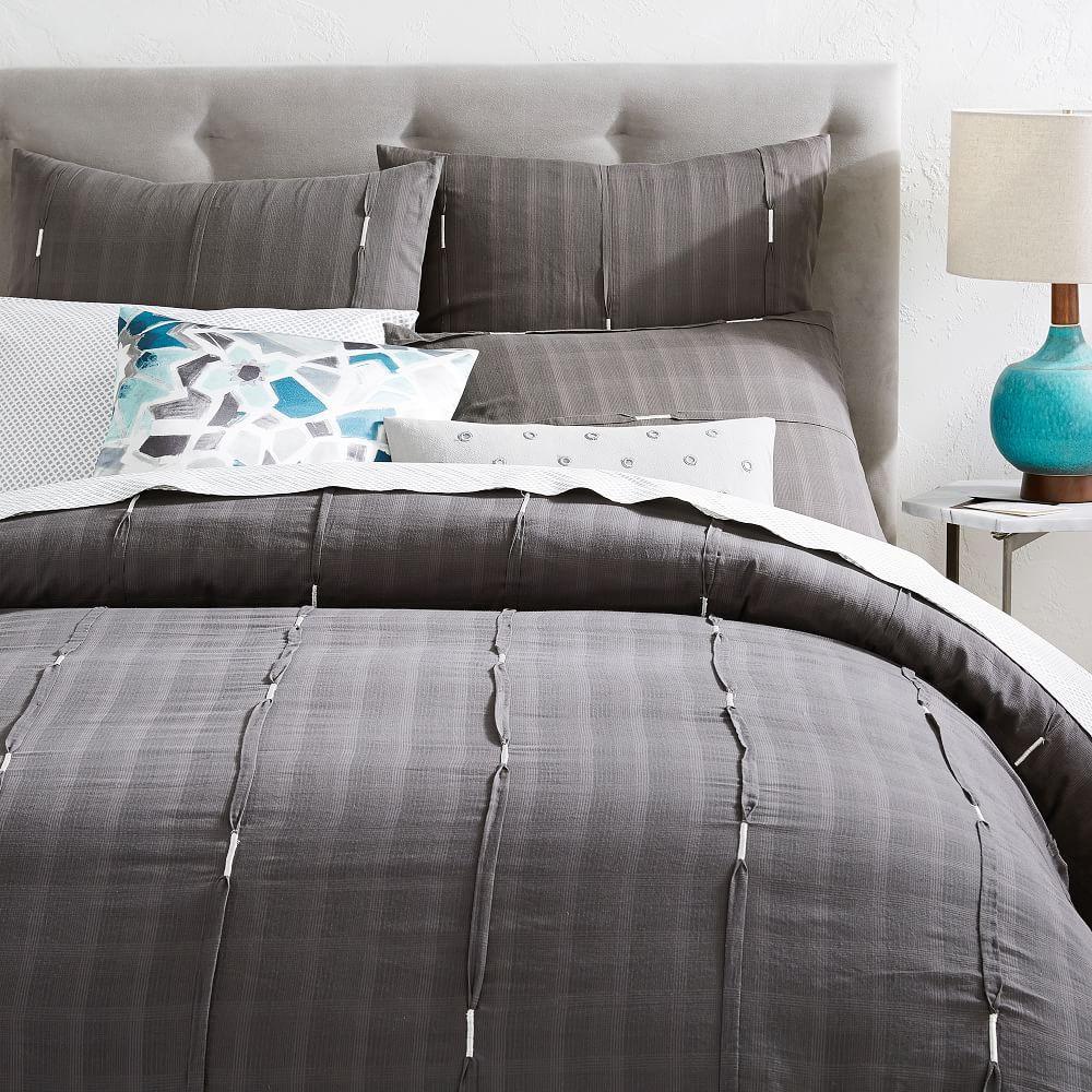 Silver Stitch Pleat Pillowcase Square