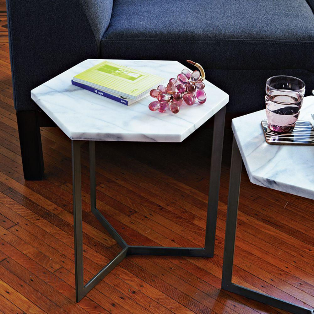 Hex Side Table West Elm UK - Hexagon marble coffee table