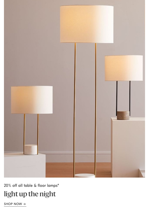 20% off all table & floor lamps