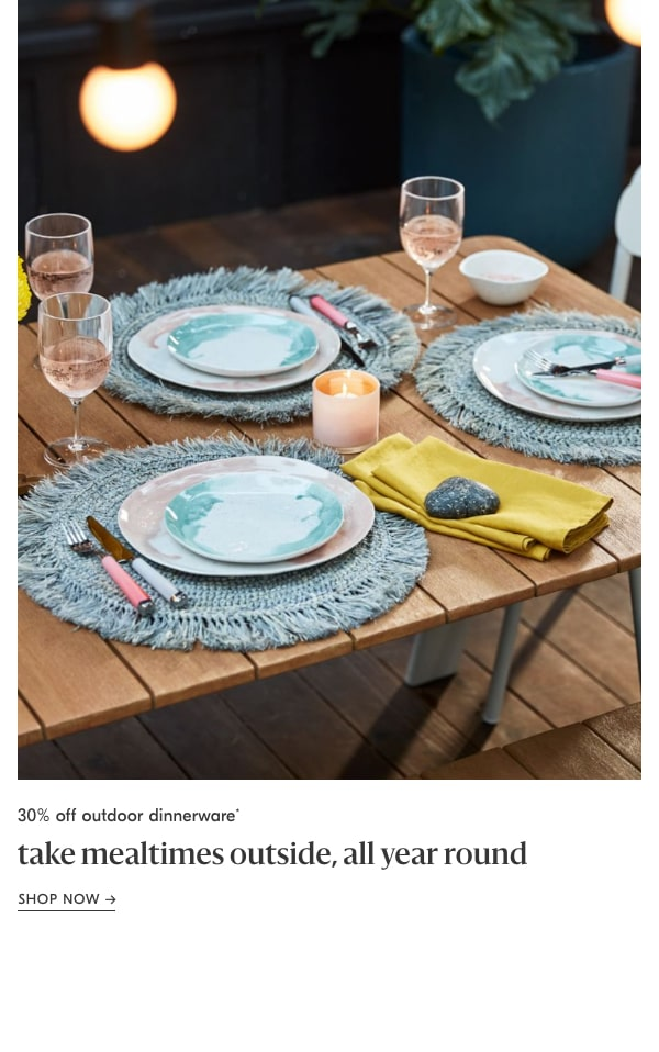 30% off outdoor dinnerware
