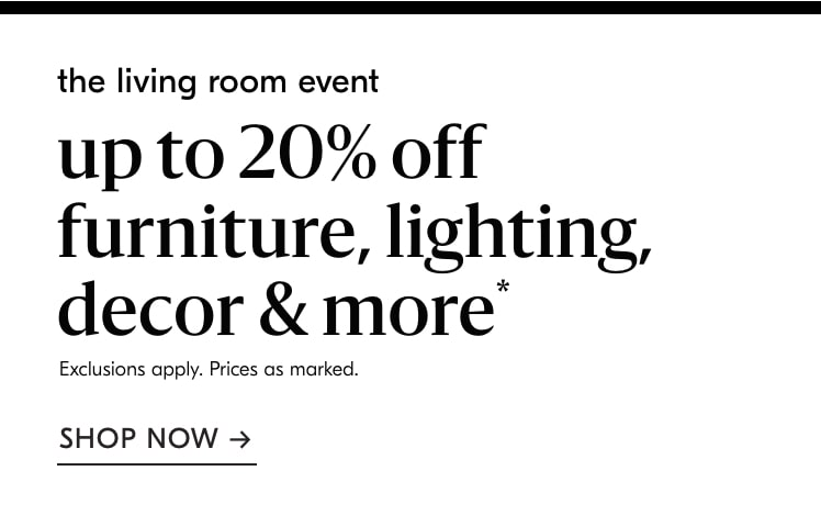 up to 20% off living room event