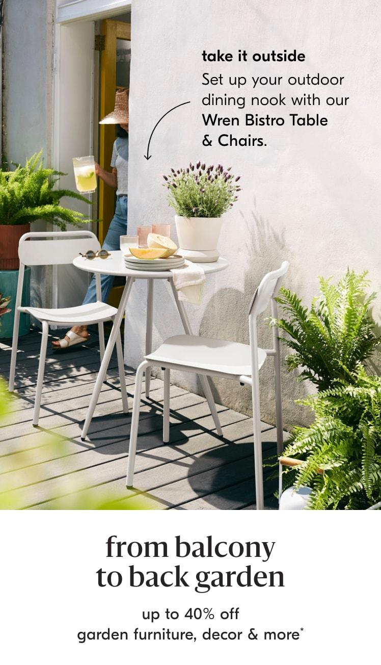 up to 40% off garden furniture & decor