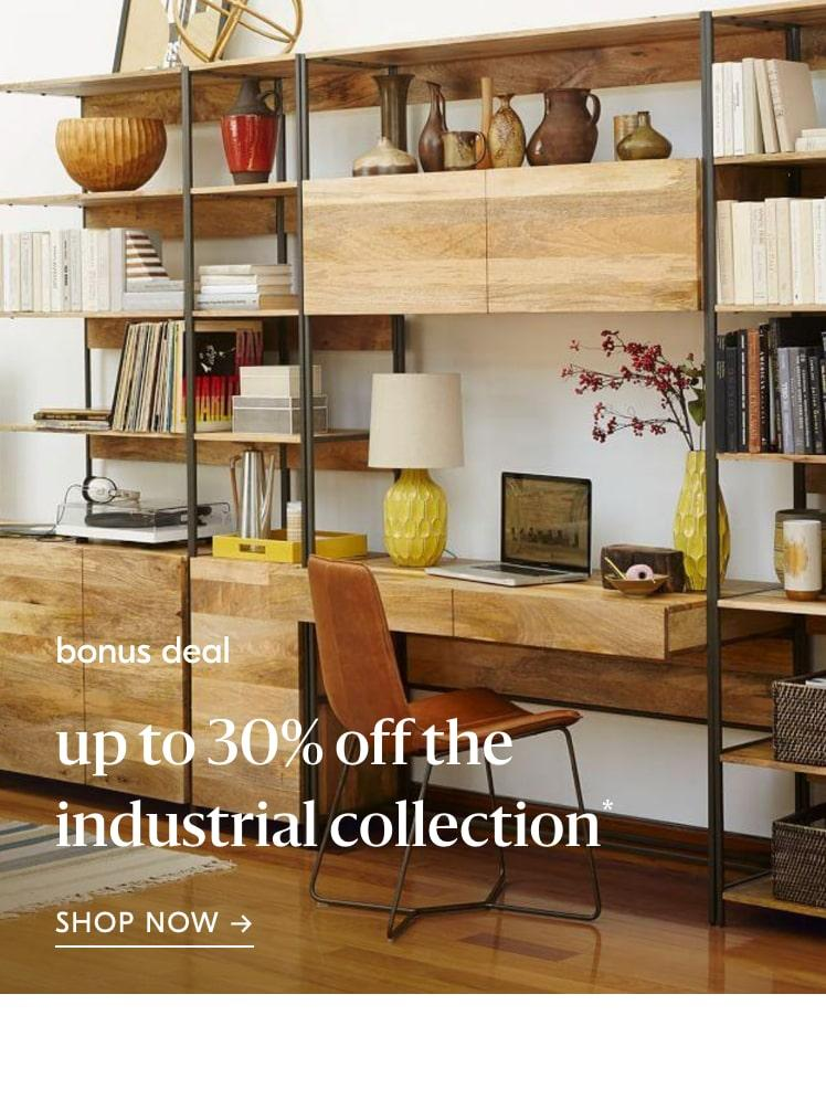 up to 30% off industrial furniture