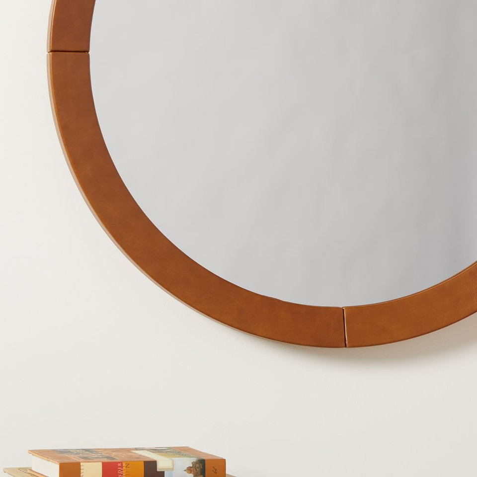 Anders Round Vegan Leather Mirror