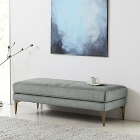 Andes Bench - Mineral Grey (Distressed Velvet)