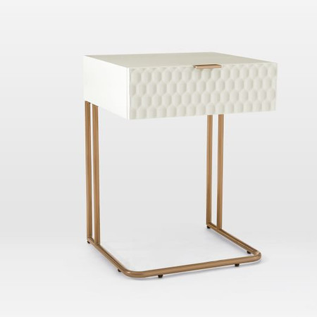 Audrey C-Shaped Bedside Table - Parchment
