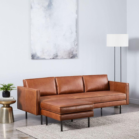 Axel Leather Sofa & Footstool Set