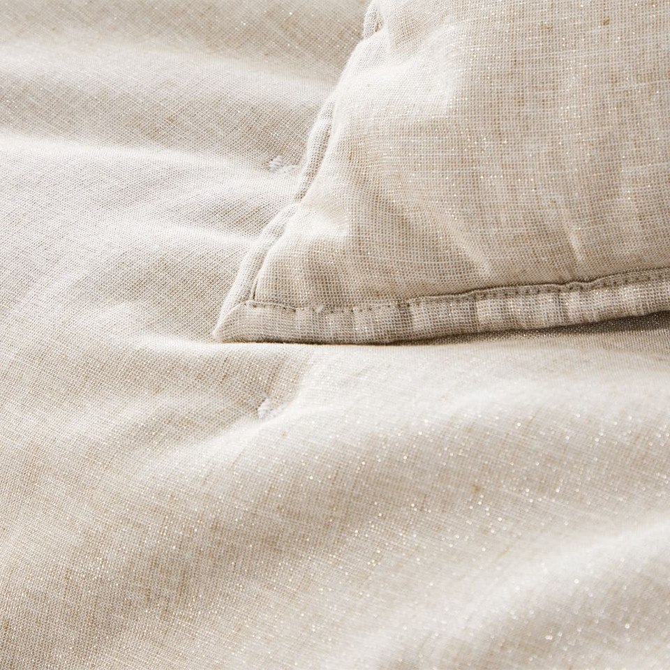 Belgian Flax Linen Cotton Metallic Bedspread & Pillowcases - Belgian Flax
