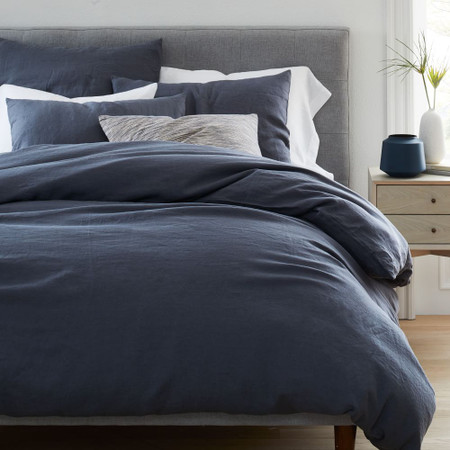 Belgian Flax Linen Duvet Cover & Pillowcases - Iron Blue