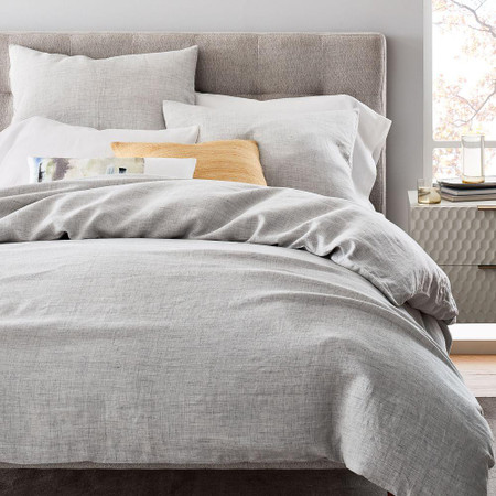 Belgian Flax Linen Fibre Dyed Duvet Cover & Pillowcases - Frost Grey