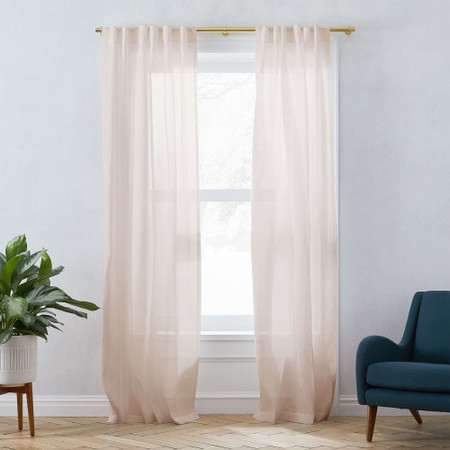 Sheer Belgian Flax Linen Curtain - Dusty Blush