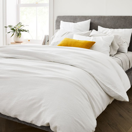 Belgian Flax Linen Duvet Cover & Pillowcases - White