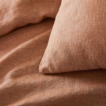 Belgian Linen Melange Duvet Cover & Pillowcases - Terracotta