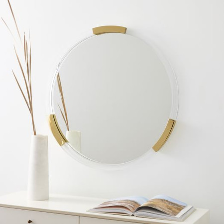 Brass & Lucite Collection - Circle Mirror