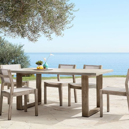 Concrete Garden Dining Table & 6 Portside Textilene Chairs Set