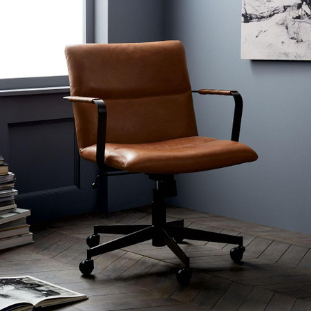 Cooper Mid-Century Leather Swivel Office Chair