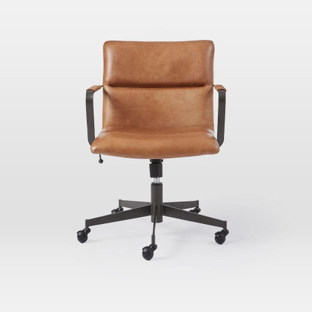 Cooper Mid Century Leather Swivel Office Chair West Elm United Kingdom
