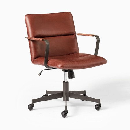 Cooper Mid Century Leather Swivel, Real Leather Office Chair