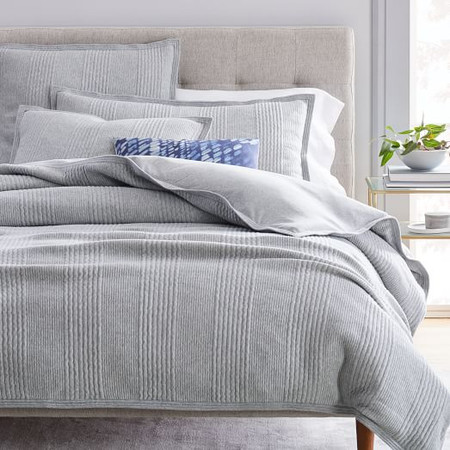 Cotton Cloud Jersey Duvet Cover & Pillowcases - Medium Heather Grey