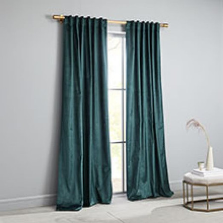 Cotton Lustre Velvet Curtain + Blackout Lining - Green Gables