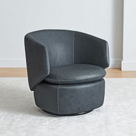 Crescent Leather Swivel Armchair