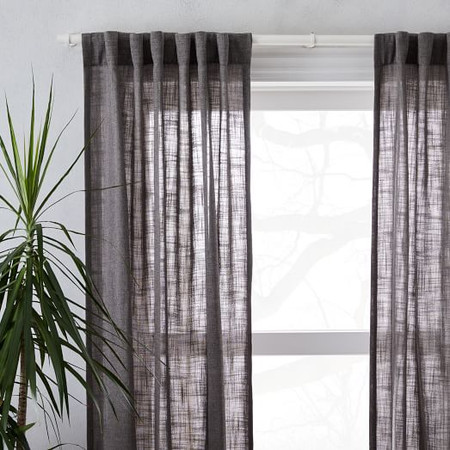 Crossweave Blackout Curtain - Charcoal