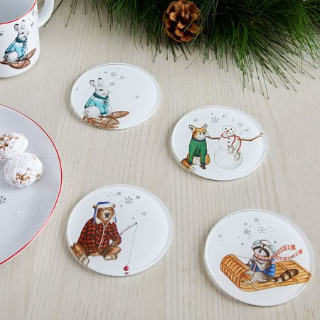 Dapper Animal Holiday Coasters (Set of 4)