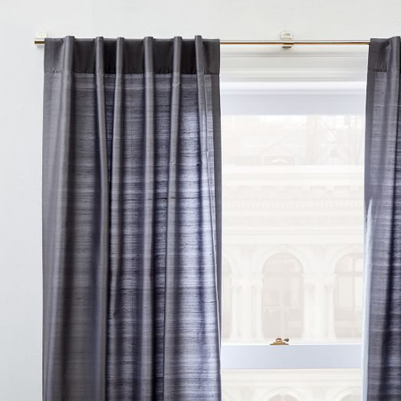 Dupioni Silk Curtain + Blackout Lining - Pewter