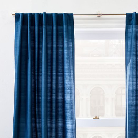 Dupioni Silk Curtain + Blackout Lining - Regal Blue