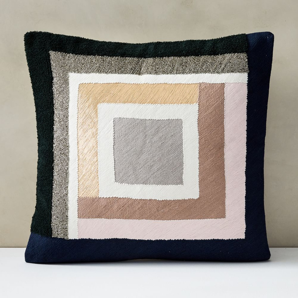 Embellished Deco Colourblock Cushion Cover