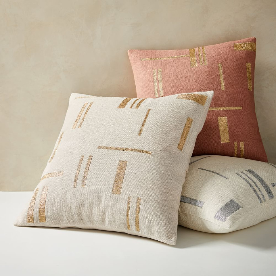 Embroidered Metallic Blocks Cushion Cover