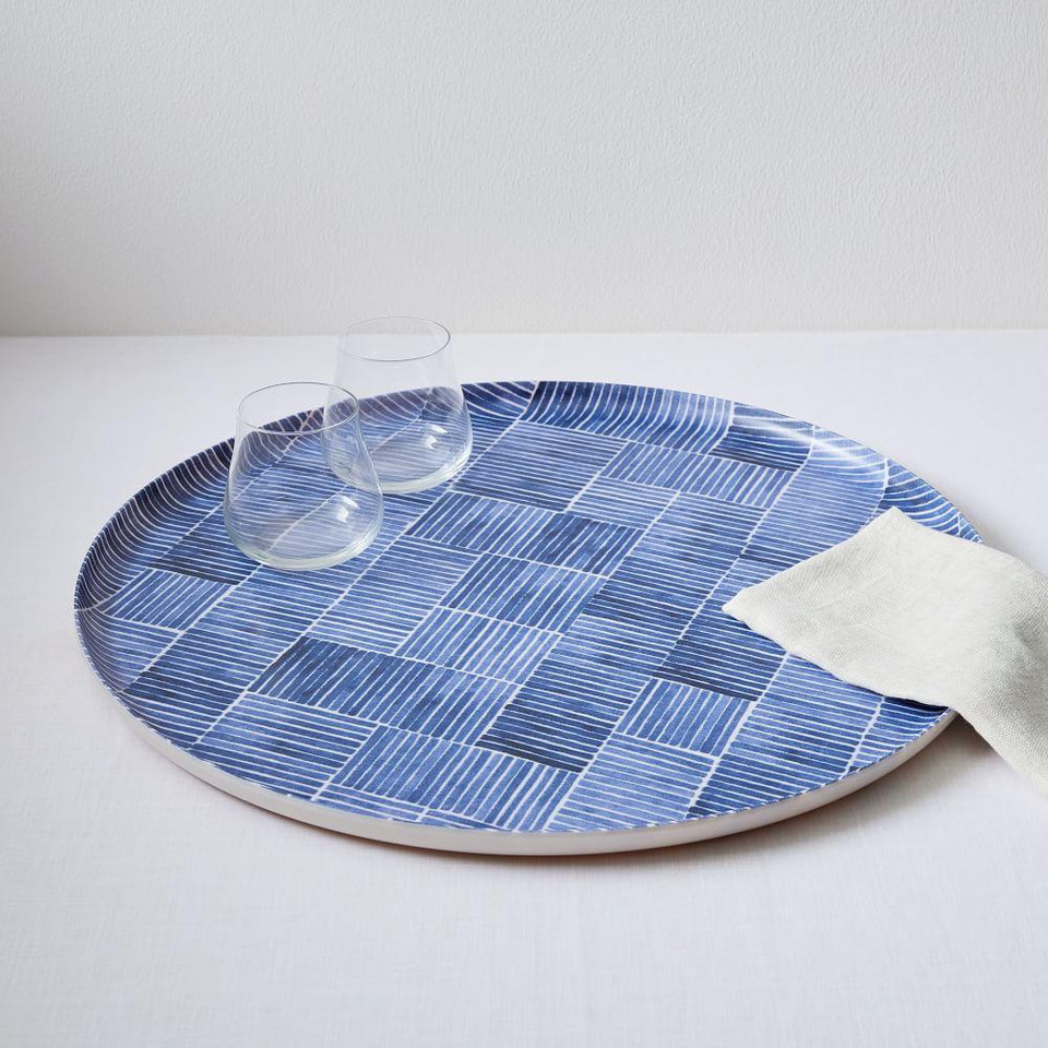 Fabric Pattern Tray - Blue Lines