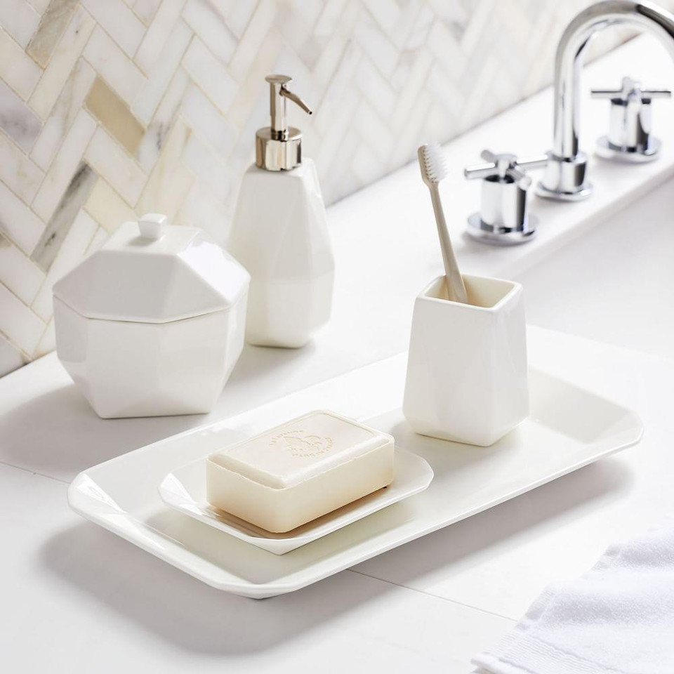 Faceted Porcelain Bathroom Accessories - White
