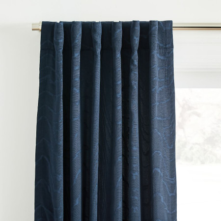 Faux Silk Moire Curtain - Midnight