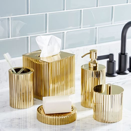 Fluted Metal Bath Accessories - Polished Brass