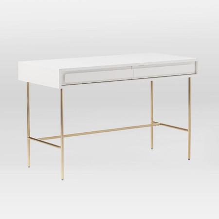 Gemini Desk White Lacquer West Elm, White Lacquer Furniture