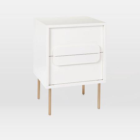 Gemini Bedside Table White Lacquer, White Lacquer Furniture
