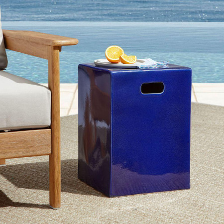 Geometric Ceramic Outdoor Side Table - Square