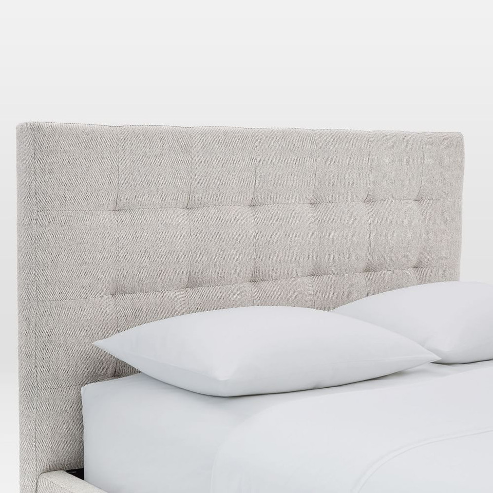 Grid-Tufted Upholstered Tapered Leg Bed - Stone (Twill)