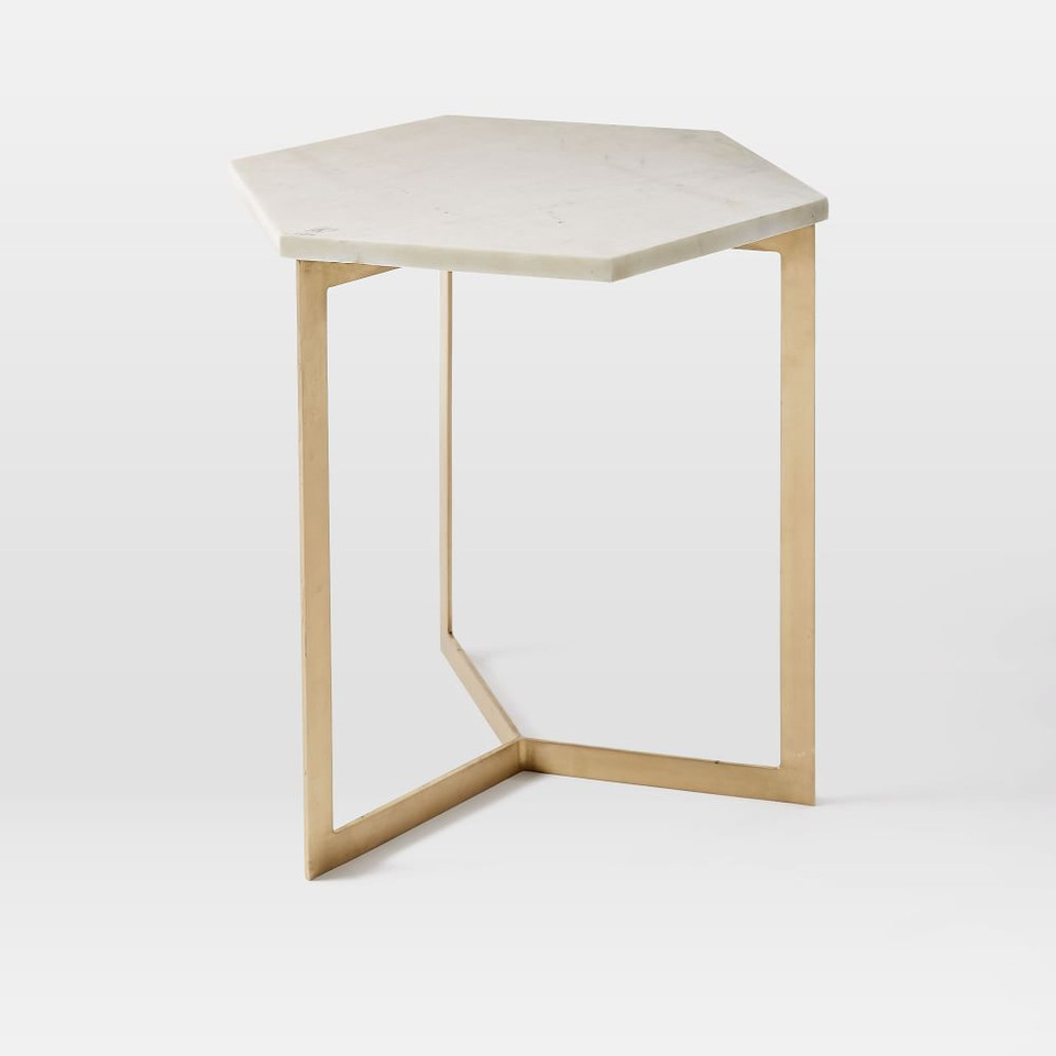 Hex Side Table - Antique Brass