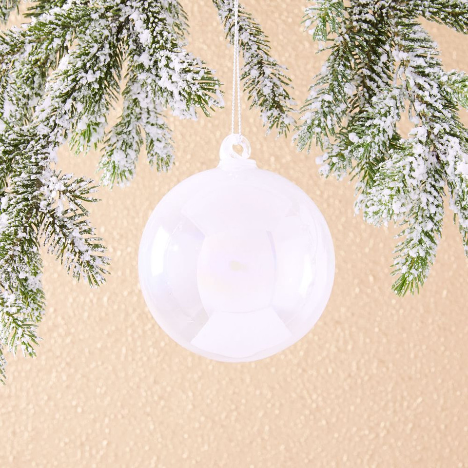 Iridescent Glass Ball Ornament - Pearl White