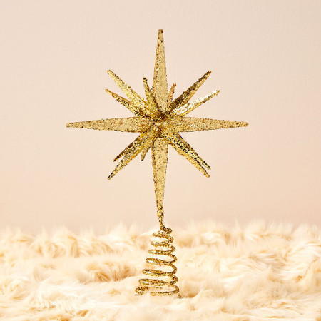 Kraft & Glitter Gem Starburst Tree Topper - Gold