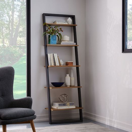 Ladder Shelf Storage Wide Shelf, Sand/Stone